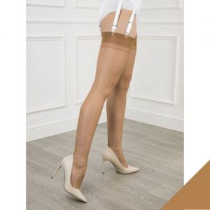 GIO Fully Fashioned Nylonkousen Point Heel met Naad - kleur Bronze