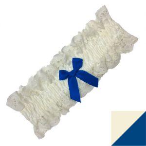 Trasparenze Sposa Kousenband - kleur Ivoor / Donkerblauw (Panna con fiocco blu)
