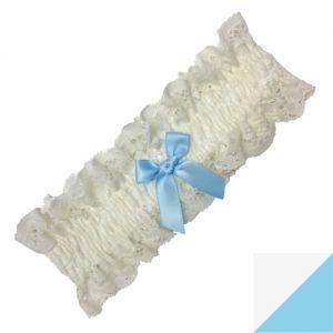 Trasparenze Sposa Kousenband - kleur Wit / Lichtblauw (Bianco con fiocco azzurro)